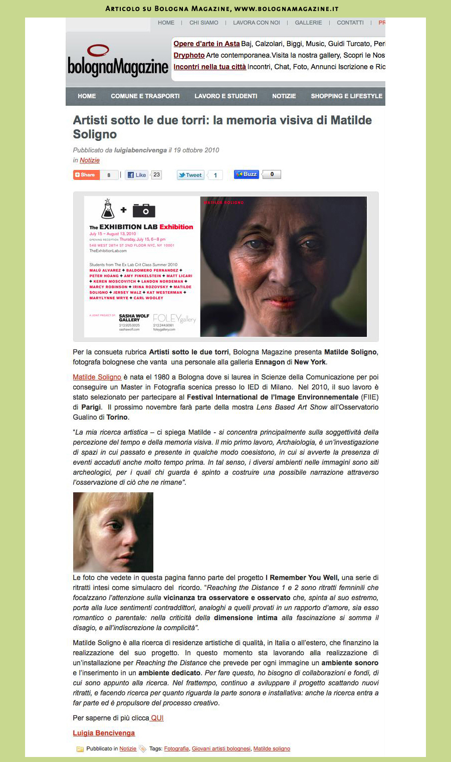 Articolo su Bologna Magazine, www.bolognamagazine.it