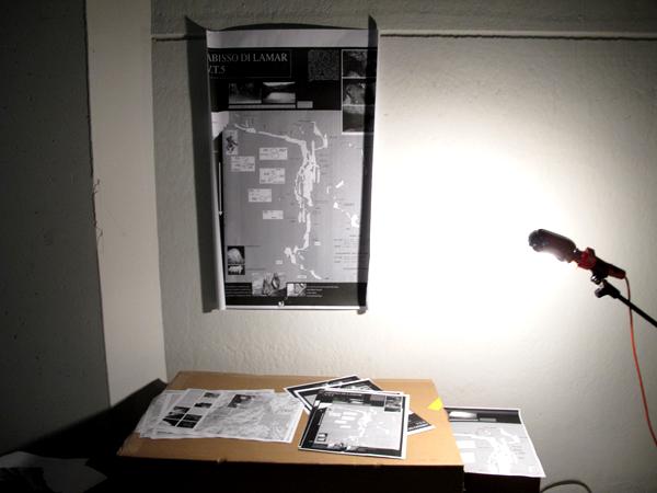 """Zootropio 5/6-11-2011 – Linda Rigotti, """"m -387 s.l.m"""", mappa, fogli A3, 2011."""